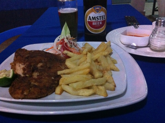 I love fish and chips and Amstel obviously.  My first and only meal in Bujumbura.